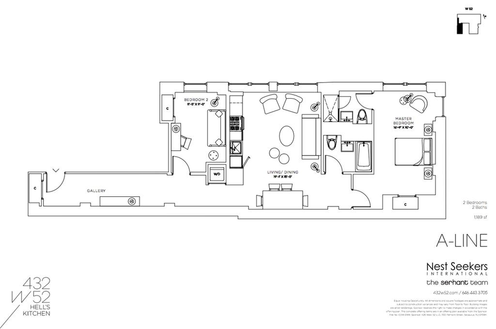 Unit 2A at 432 West 52nd Street, New York, NY 10019