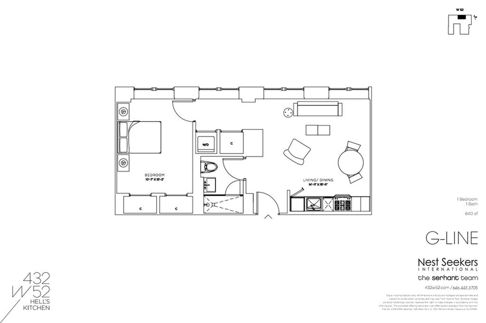 Unit 6G at 432 West 52nd Street, New York, NY 10019