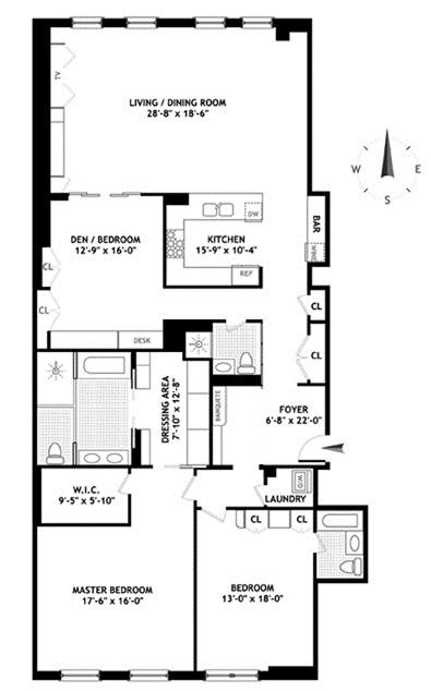 Unit 3E4E at 416 Washington Street, New York, NY 10013