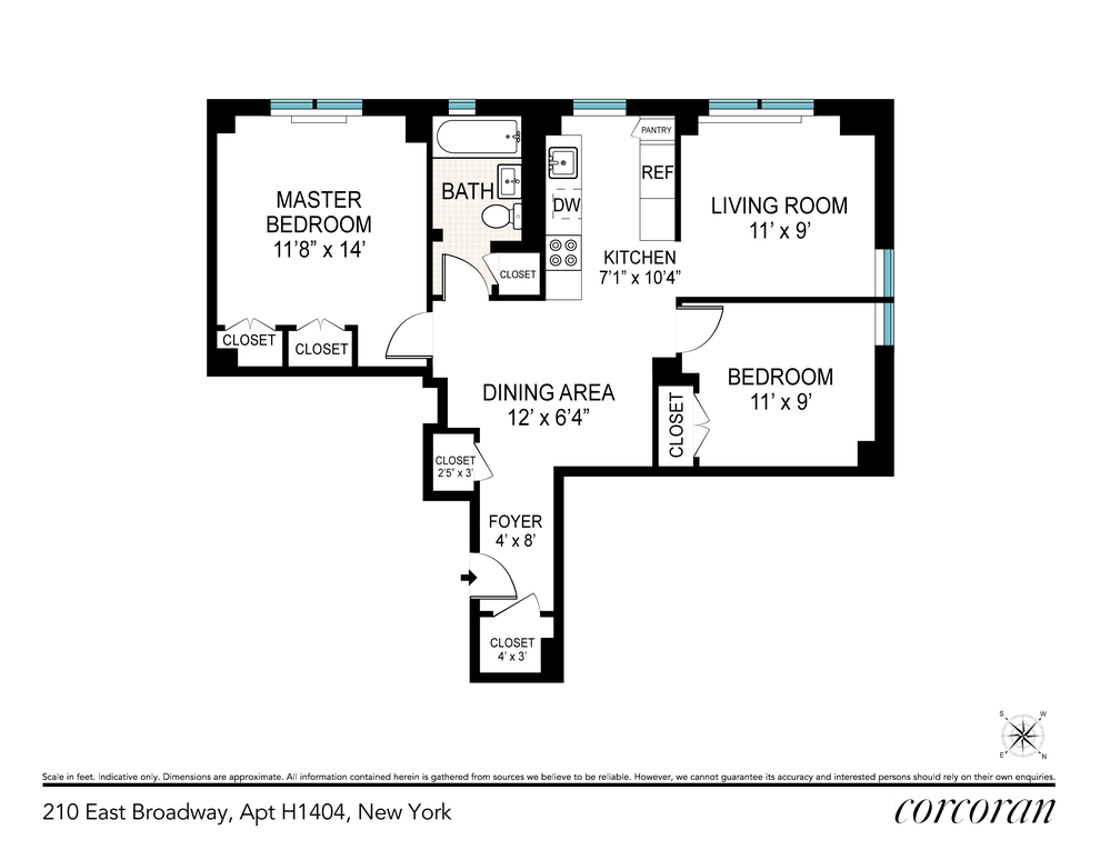Unit H1404 at 210 East Broadway, New York, NY 10002