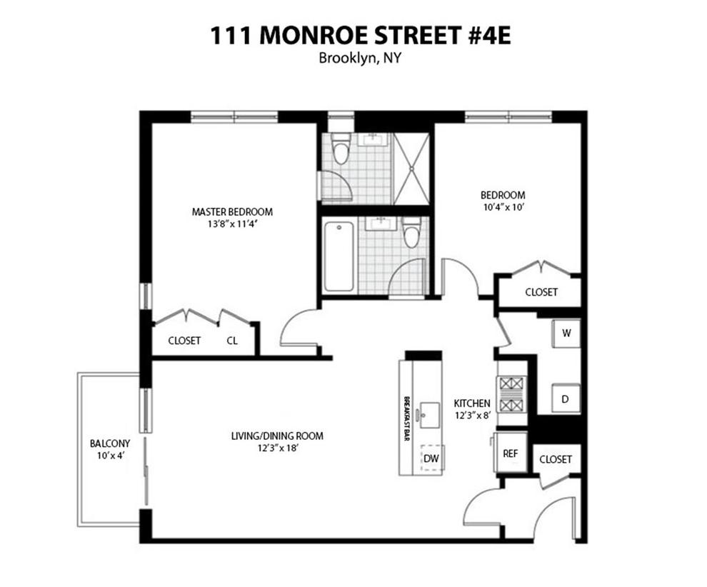 Unit 4E at 111 Monroe Street, Brooklyn, NY 11216