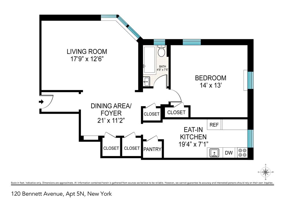 Unit 5P at 120 Bennett Avenue, New York, NY 10033