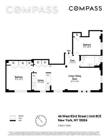 Unit 8CE at 46 West 83rd Street, New York, NY 10024
