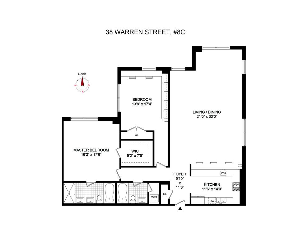 Unit 8C at 38 Warren Street, New York, NY 10007