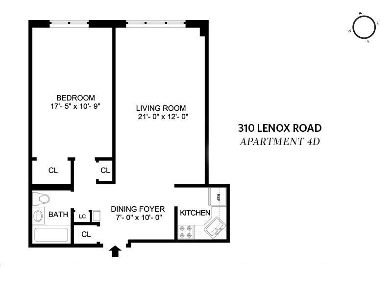 Unit 4D at 310 Lenox Road, Brooklyn, NY 11226