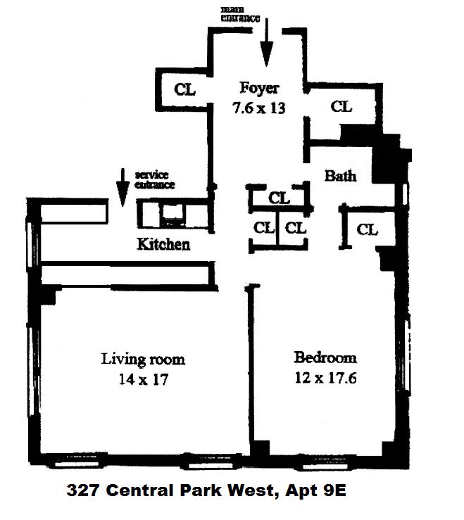 Unit 9E at 327 Central Park West, New York, NY 10025