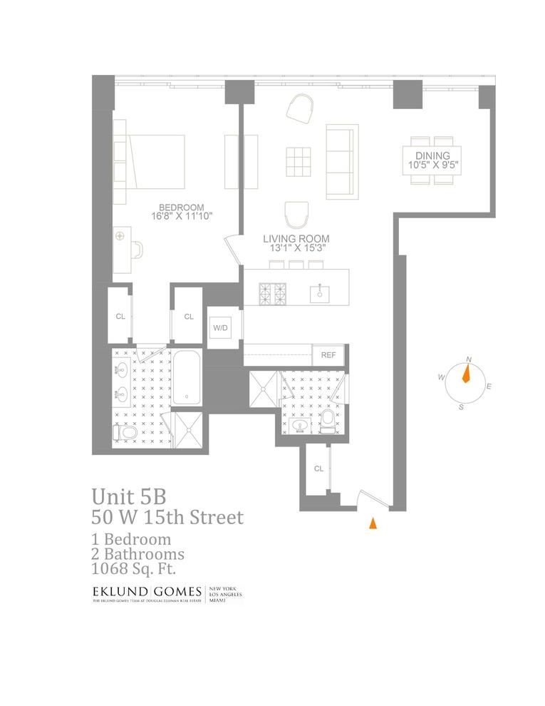 Unit 5B at 50 West 15th Street, New York, NY 10011